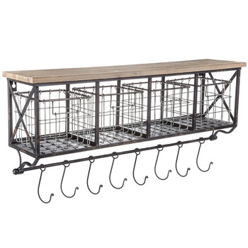Wall Shelf With Metal Baskets & Hooks